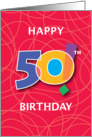 50th Birthday, Bright Bold Numbers with String Background card