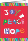 Joy-Peace-Hope, Lettering with Heart, Dove and Star Shapes card