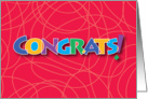 Congrats Stained glass looking lettering with string background art card
