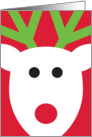 Bold Graphic Reindeer Head With Green Antlers on Red card