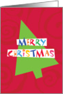 Merry Christmas Tree with Funky lettering and background swirls card