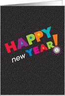 Happy New Year Lettering With Stars and Black Confetti Background card