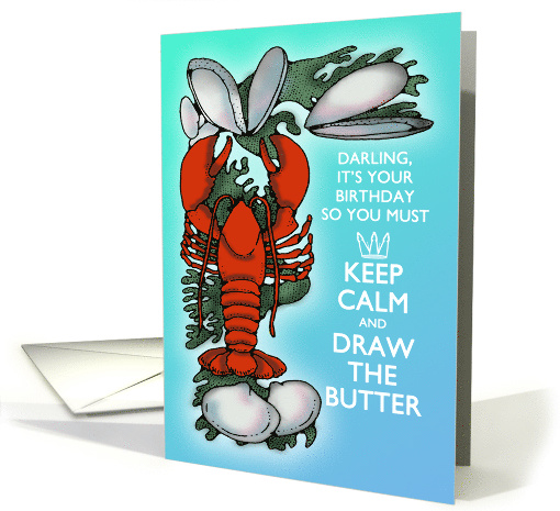 Lobster and Clams Keep Calm Sea Blue and Red Sweetheart Birthday card