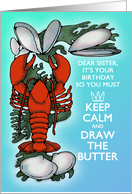 Lobster and Clams Keep Calm Sea Blue and Red Sister Birthday card