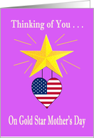 Military Gold Star Mother's Day Card - gold star, patriotic heart card