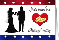 Military Wedding Invitatiion - Silhouettes, Heart & Rings card