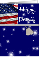 Military Happy Birthday - Custom front, Flag, Star Bursts card