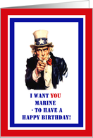 Military Birthday for Marine - Uncle Sam, Patriotic card