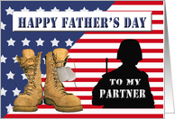 Father's Day for Military Partner - Flag, Combat Boots, Silhouette card