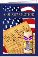 Gold Star Mother - American Flag, Constitution & Candle card