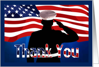 Marine Thank You - Marine Silhouette Saluting, American Flag card