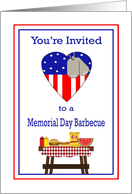 Memorial Day Barbecue Invitation - Patriotic Heart, Dog Tags, Food card
