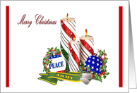 U.S. Army Merry Christmas - patriotic candles, ornaments & army ribbon card
