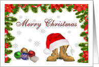 Military Merry Christmas - Santa Hat, Combat Boots & Ornaments card