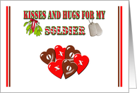 Christmas Kisses & Hugs For My Soldier - X's & O's Candy Hearts card