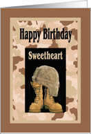 Birthday for Military Sweetheart, Camo and Combat Boots Card