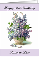 Happy 60th Birthday Sister In Law Lilacs Purple Basket Vintage