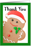 Thank You for Yummy Christmas Cookies, Treats, Santa Gingerbread Man card
