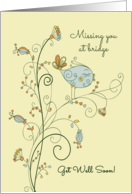 Missing You at Bridge, Get Well Soon, Sweet Bird Illustration card