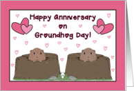 Happy Anniversary on Groundhog Day in February with Pink Hearts card