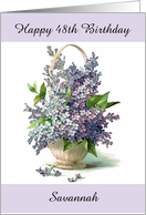 Personalized Happy Birthday with Custom Age and Gorgeous Lilacs card