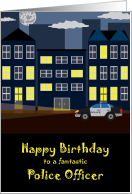 Happy Birthday to Police Officer, Urban Night Scene card