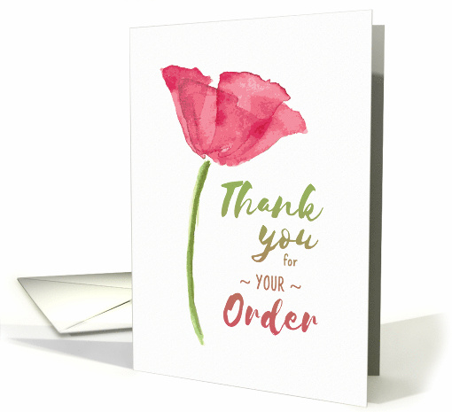 Thank You for Your Order with Elegant Floral Watercolor Design card