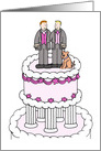 Two Grooms and their Dog Civil Union or Wedding Congratulations. card