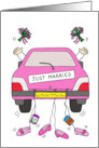 Just Married Lesbian Wedding Cartoon, Pink Car with Two Brides. card