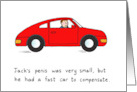 Jack's Fast Red Car, Small Penis, Cartoon. card