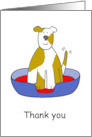 Thank You for Looking After the Dog, Smiling Pup in a Basket. card