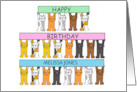Happy Birthday Cartoon Cats to Personalize with Any Name card