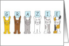 Grazie, Thank You in Italian, Cartoon Cats Holding Up Letters. card
