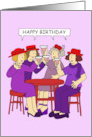 Happy Birthday for Red Hat Wearing Lady, Group of Ladies in Purple. card