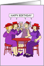 Happy Birthday Fun Ladies in Red Hats Drinking Cocktails. card
