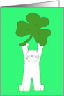 St. Patrick's Day Cartoon White Cat Holding a Giant Shamrock. card