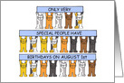 August 1st Birthday, Leo, Cute Cartoon Cats Holding Banners. card
