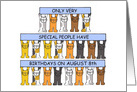 August 8th Birthday, Leo, Cartoon Cats Holding Banners. card