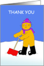 Thank You for Clearing the Snow, Cartoon Cat in Hat and Scarves. card