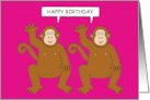 Happy Birthday from Two Cheeky Cartoon Monkeys Twin Chimps Fun card