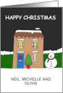 Happy Christmas, Cute Cartoon House to Customize Any Names. card