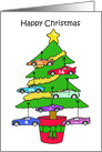 Happy Christmas, Cartoon Tree with Stock Car Decorations. card