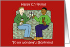 Happy Christmas to Boyfriend, Interracial Male Couple, Cartoon. card