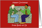 Happy Christmas from Both of Us, Interracial Male Couple, Cartoon. card