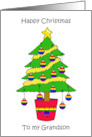 Happy Christmas to Gay Grandson, Cartoon Tree with Rainbow Baubles. card