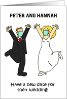 Covid 19 Wedding New Date Annoucement, Bride and Groom Cartoon. card