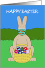 Covid 19 Happy Easter Cartoon Bunny with Basket of Eggs and Facemask card