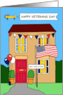 Covid 19 Happy Veterans Day Self isolating Cartoon Patriotic House card