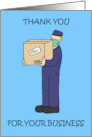 Covid 19 Delivery Man Thank you for Your Business Cartoon Man card