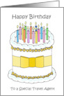 Happy Birthday to Travel Agent Cartoon Cake and Candles card